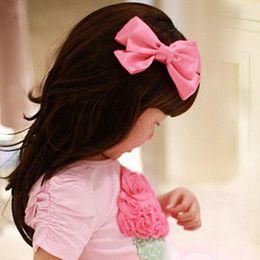 Acheter en ligne Fille accessoires pour cheveux clips-Filles Baby 9-10cm Longueur Ruban Archets avec clips Enfants Grosgrain Bowknot pinces à cheveux Girls Accessoires cheveux Barrettes enfants