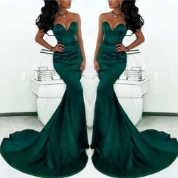 Vestidos Green Mermaid Prom Dresses 2016 Sweetheart Satin Formal Backless Evening Gowns Court Train Formal Party Evening Dresses BO7937