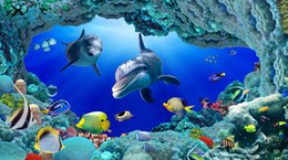 Wholesale Custom large murals fabric wallpaper d wall paper sitting room bedroom TV sofa background Underwater world animated cartoon dolphin color