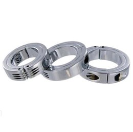 Wholesale Stainless Steel Mens Heavy Metal Hinged Steel Cock and Ball Stretcher Ring Adult Male Bondage Restraint CBT Sex Products