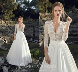 Wholesale Arabic Vintage Beach Summer Lace Wedding Dresses Long Sleeve Garden Country White Satin Bridal Gowns V Neck Plus Size Wedding Dress