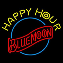 "Happy Hour Blue Moon Neon Sign KTV Disco Pub Real Glass Tube Advertisement Display LED Sign 24""X24"""