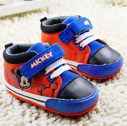 Baby first walkers shoes baby sport shoes cotton shoes cartoon mickey shoes color red size 11-13cm 2016 kids shoes children shoes new style.