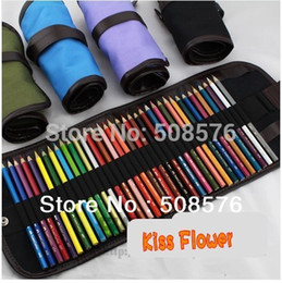 School Painting stationery roll pencil case canvas curtain sketch pens bag brush kits rolling holders for 48 pencils blue OP2018