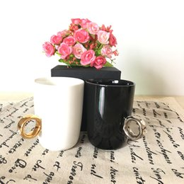 Wholesale Elegant Crystal Diamond Carat Ring Ceramic Cup Coffee Mug Cup caneca drinkware gift cup colors with retail box