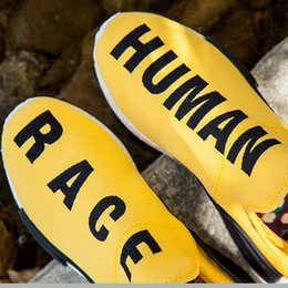 Wholesale Pharrell Human Race NMD Retailer Yellow NMD Runner Shoes Primeknit upper Boost Shoes Grey Black White Red Green Blue nmds shoes with box