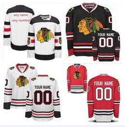 Wholesale 2016 black hawk team jersey customization of ice hockey custom color black red white size M XXXL