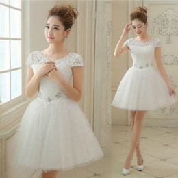 Scoop Neck Lace Tulle Bridesmaid Dress Short 2016 Knee Length Party Dress Lace Up Fast Shipping
