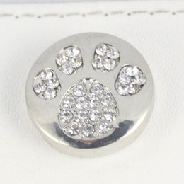 Wholesale silver Noosa chunks bear dog paw snaps button jewelry