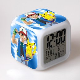 Wholesale Pikachu Thermometer Alarm Clock Baby Toy Action Figure Cartoon Clocks LED Colorful Flash Touch Light Watches Clocks Boys Girls Gift
