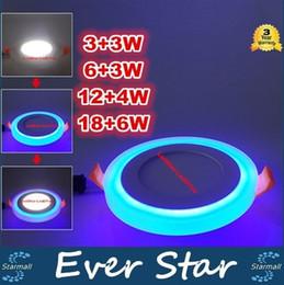 Скидка качество панели Высокое качество алюминия и акриловые светодиодные панели квадратной формы 6W 9W 16W 24W двойной цвет холодный белый и синий 85-265 Встраиваемый потолочный