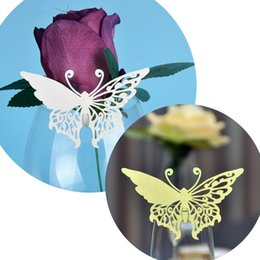 Laser Cut Small Butterfly Table Mark Escort Wine Glass Name Place Cards for Wedding Event Decoration Baby Shower Favor Party Supplies