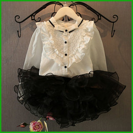 Spring Autumn Girls Floral Dress Suits White Long Sleeve tops Princess Lace Cotton Children girls dress set new fashion free shipping