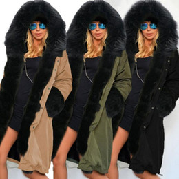 Wholesale Casual Faux Fur Hooded Pad - New Plus Size Women Winter Large Faux Fur Collar Hooded Overcoat Cotton-padded Jacket Casual Thick Warm Long Trench Coat 161019