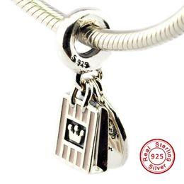 Promotion boutiques de charme Shopping Queen, rose doux émail 100% 925 perles en argent sterling Fit Pandora Fashion Bijoux DIY charme Marque