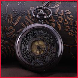 Mujer del reloj del collar en venta-Flor de bronce antigua del golpeteo relojes de bolsillo collares de cadena del tirón relojes de pared Locket de cuarzo reloj de las mujeres de los hombres de la joyería de regalo de Navidad 230218