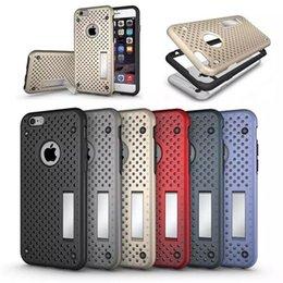 2 en 1 NetGrid Kickstand agujero de plástico duro TPU parachoques marco caso para el iPhone 6 6S más Samsung S7 s6 borde plsu nota 5 Z5 Premium Nexus 5 desde plástico nexo proveedores