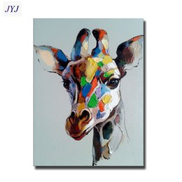 Wholesale Giraffe Painting Direct From Artist Hand painted Modern Abstract Oil Painting On Canvas Wall Art Decor No Framed