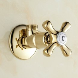 Wholesale New quot male x quot male Brass Bathroom Angle Stop Valve Gold finish bathroom accessories use for toilet sanitary