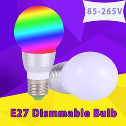 Wholesale E27 LED RGB Bulb lamp W RGB Magic Dimmable Holiday Lighting with IR Remote Control colors Lampara Bombillas AC110V V