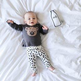 2016 autumn style infant clothes baby clothing sets boy Cotton little bear print long sleeve 2pcs suit baby boy kids clothes