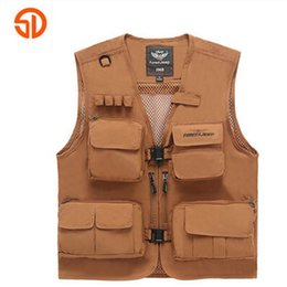 Fall-2016 Men's Outdoor Photography Vest Solid Cotton casual Breathable zipper Vest For Men free shipping