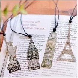 Wholesale Metal bookmarks hollow out Retro architecture Wedding Favors wedding supplies gift box cheap Practical unique
