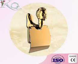 Wholesale Golden tissue paper roll holder wall mounted toilet tissue holder bath accessories brass toilet paper roller dispenses