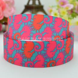 """HOT 7 8"""" 22mm Sea Horse Pink Printed Grosgrain Ribbon Hair Bow DIY Handmade Sewing Ribbon Crafts Materials Garments Decorating Tie 50Yards"""