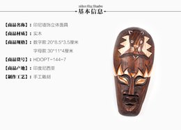 Wholesale 2016 Time limited Hot Sale For Diy Decor Sticker Handmade Wood Sculpture Muons Hangings Mask Vintage Stereo Home Decoration