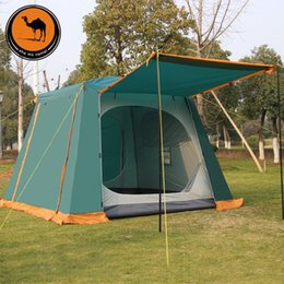 Camel 4-6 person high quality automatic quick opening ultralarge big space waterproof sunscreen double layer camping tent