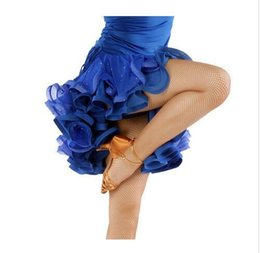2018 Latin Dance Skirt Gourmet Ice Silk Sequins Net Yarn Dancewear Red Blue Black Yellow Green Cha Cha Rumba Samba Skirt For Dancing