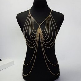 Wholesale M182 Allured Sexy Golden BODY CHAIN NECKLACE Exquisite Necklaces for women Beach BIKINI fashion lady body chains Highlights body chains