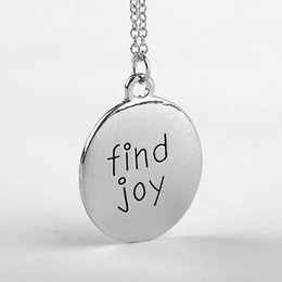 Wholesale 50pcs jewelry silver plated alloy punk Statement Lettering Find Joy high polished round pendant necklace women men eBay Hot x261