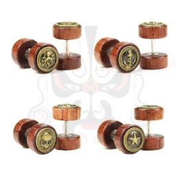 Wholesale 2015 hot sale wood ear earrings tunnel fake plugs ear taper guages piercings body jewelry stretchers mm SS