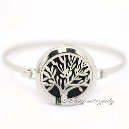 Wholesale 2016 New tree of life Aromatherapy Bracelet L s steel Essential Oils Diffuser Locket Bangle wrist free Felt