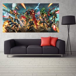 Wholesale Comics Posters Marvel Comics Superhero Waterproof Back Glue Paper Wall Sticker Decorated Bedroom Poster Print Wallpaper WDY128