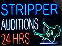 Wholesale 2016 LED Stripper Auditions Hrs Real Glass Neon Light Signs Bar Pub Restaurant Billiards Shops Display Signboards quot x14 quot