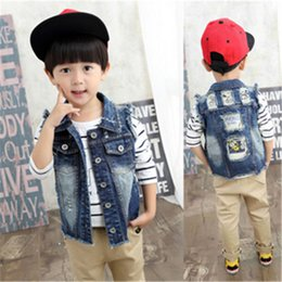 Wholesale Sleeveless Jacket For Boys - 2016 sleeveless jeans vest children casual cotton vest jacket girl and boy fashion Frazzle denim waistcoat for toddler boy 2-9years old