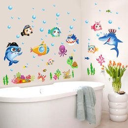 Wholesale Cartoon sea world collection removable self adhesive Wall Sticker Best design for bathroom use cm sheet size pc opp bag packing