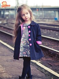 Wholesale Cute Jackets For Kids - 2-7 yrs New 2016 Kids Wind Coats Children Outerwear Fashion Girl Coat Vogue Trench Bowknot Long Sleeve Spring Jacket for Girls