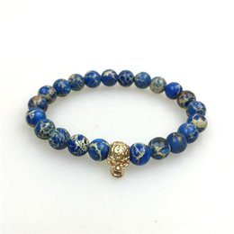 Wholesale Summer Fashion Classic Goldplated Emperor jewelry made Stone Bracelets Multicolor Natural Emperor Beaded Skull Handwork Bracelet Jewelry