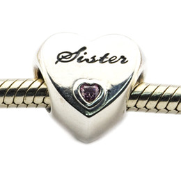 Fits for Pandora Bracelet original 100% 925 sterling silver beads Sister's Love, Pink CZ DIY charms for women 1pc lot