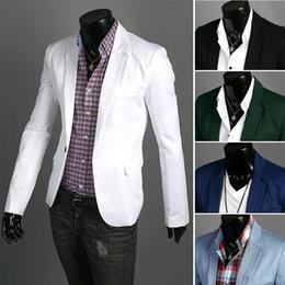 Wholesale Tallas grandes hombres traje de negocios Blazers de manga larga de algodón de color sólido traje de trabajo formal para hombres Dos bolsillos de diseño trajes Blazer hombre J160402