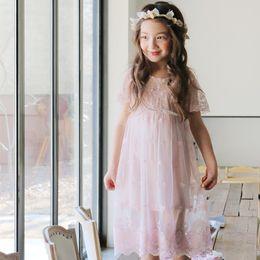 Wholesale 2016 summer korea style kids clothing princess dress beautiful fol suit lace dress veil fairy dress