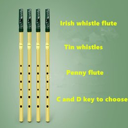 Wholesale Irish Whistle Flute Feadog C D Key Tin Whistle Irish Penny whistle Hole Clarinet Flute Nickel Plated Flauta Musical Instrument