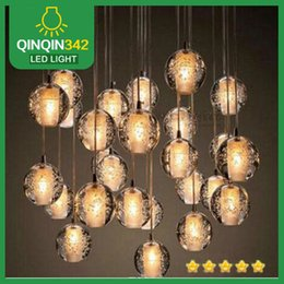 Wholesale DHL Modern Clear Air Bubble Meteor Shower Crystal Ball Pendant Light G4 LED Bulb LED Crystal Lamp for Staircase AC110V V
