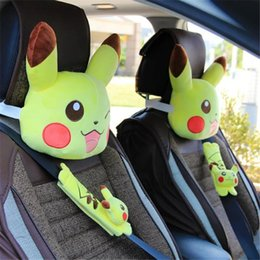 Wholesale Poke Pikachu plush car neck pillow cute cartoon headrest car seat pillow belt cover best gift for friends