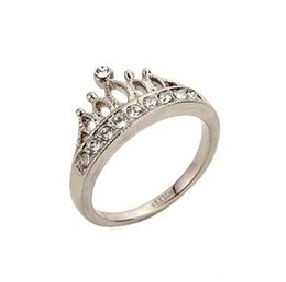 Europe 18K Gold Plated Fashion classic retro flash diamond crown Cubic Zirconia Ring