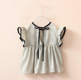 Summer Kids Girls Ruffles Fly Sleeve Tops Tees Bowknot and Cotton Linen Loose Blouse Cute Baby Chothing Grey 12215